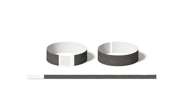 Braccialetti di carta neri, vista laterale anteriore e posteriore, rendering 3d.