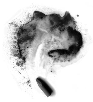 Pastello nero. sfocatura astratta e gesso nero su sfondo bianco.