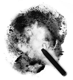 Pastello nero. sfocatura astratta e gesso su uno sfondo bianco.