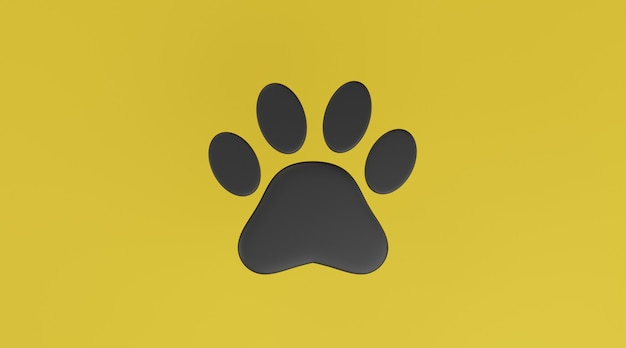 Stampa della zampa nera su sfondo giallo. stampa della zampa di cane o gatto