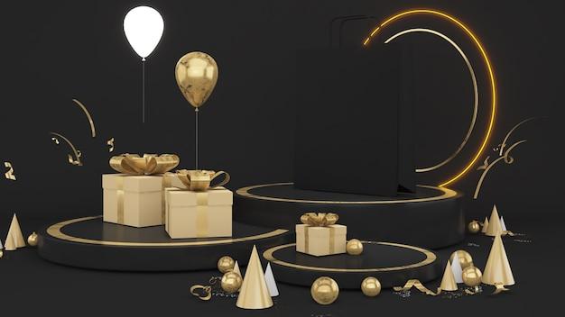 Piedistallo nero su sfondo nero con confezione regalo e materiale dorato con luce al neon che simula la presentazione