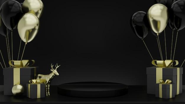 Passi per piedistallo nero isolati su modello cervo nero e dorato con confezione regalo e palloncino, spazio vuoto, design semplice e pulito, modello minimalista di lusso