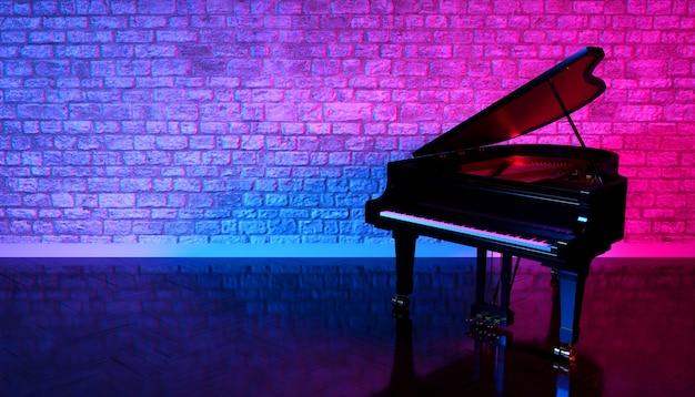 Pianoforte nero in studio con illuminazione al neon, illustrazione 3d