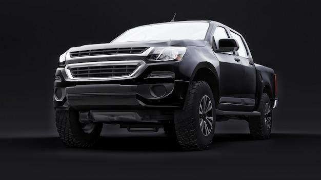 Auto pick-up nero su uno sfondo nero rendering 3d
