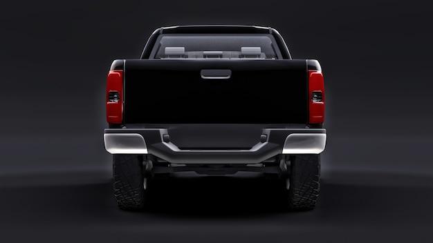 Auto pick-up nera su una superficie nera