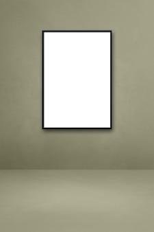 Cornice nera appesa a un muro grigio. modello di mockup vuoto