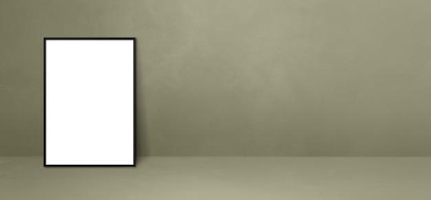 Cornice nera appoggiata su un muro grigio. modello di mockup vuoto. banner orizzontale