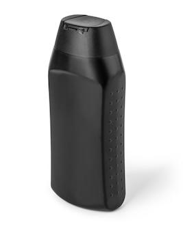Bianco isolato lozione bottiglia di plastica nera