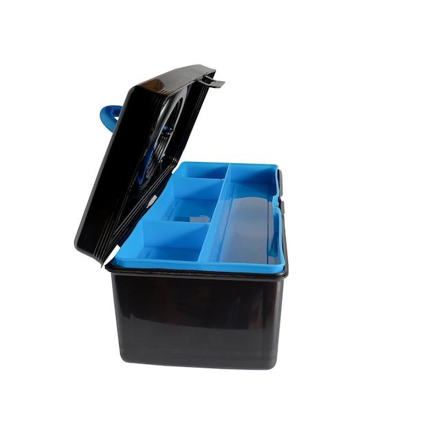 Scatola di plastica nera o deposito per strumento di lavoro.