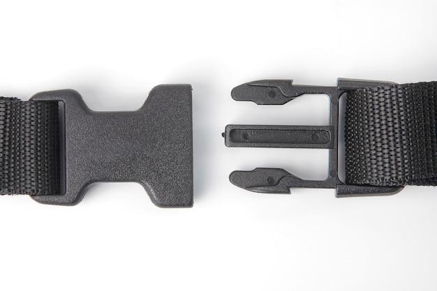 Clip fastex in plastica nera per zaini. articoli di abbigliamento e attrezzature