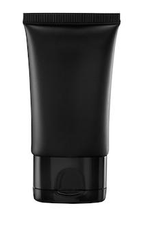 Tubo di plastica nero per crema medicinale o cosmetica, gel, cura della pelle, dentifricio. mockup di imballaggio isolato su priorità bassa bianca