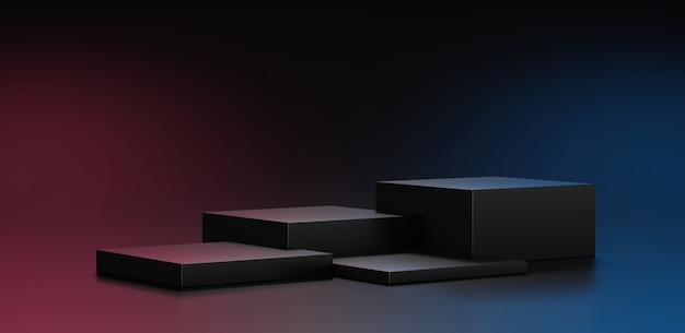 Supporto per podio nero o piattaforma per palcoscenico vuoto o piedistallo per vetrina moderno pastello minimale su presentazione esposizione di prodotti display sfondo cosmetico con scena modello studio. rappresentazione 3d.