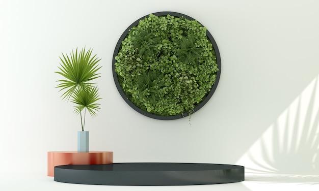 Podio nero espositore cosmetico con pianta verde ombra sfocata e sfondo bianco muro 3d