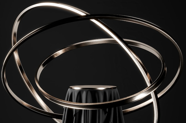 Podio nero e tavolo con piano in nichel, anello in nichel fluttuante. sfondo astratto per la presentazione del prodotto o gli annunci. rendering 3d