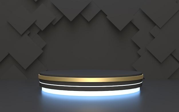 Display prodotto podio nero con sfondo astratto poligono