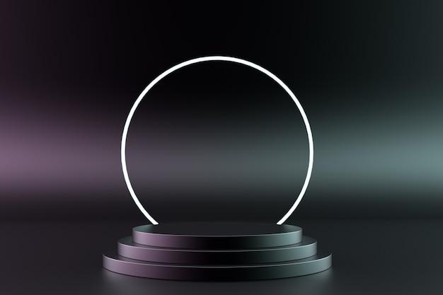 Podio nero con anello luminoso isolato su uno sfondo scuro