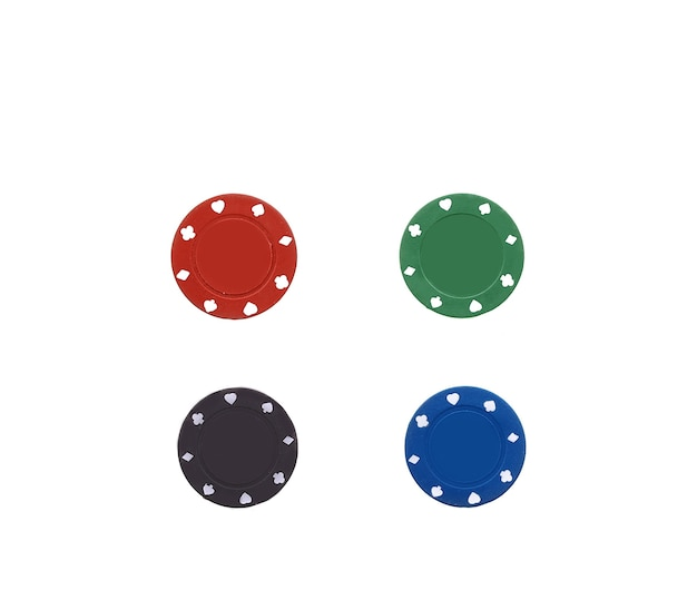 Fiches da poker nere su bianco Foto Premium