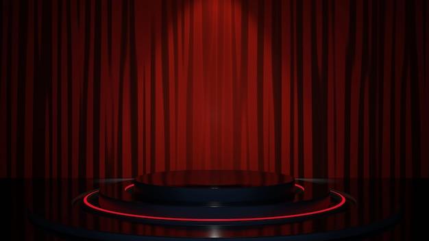 Camera di sfondo del prodotto nero e podio su sfondo di tenda rossa con sfondo in tessuto lussuoso. immagine premium.rendering 3d