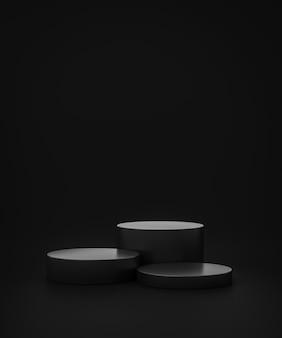 Supporto sfondo prodotto nero o piedistallo podio su display pubblicitario con fondali vuoti. rendering 3d.