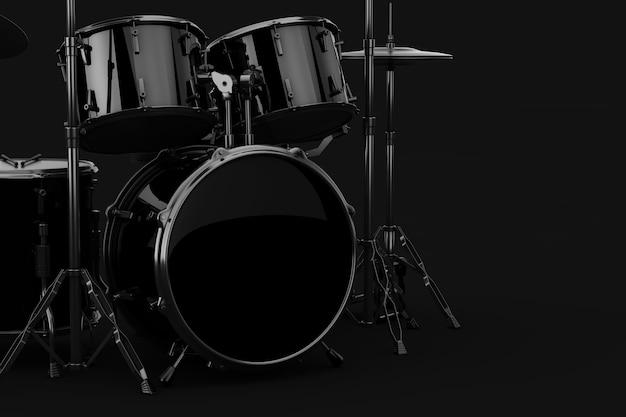 Black professional rock black drum kit, grande tamburo inferiore vuoto con spazio libero per il tuo design su sfondo nero. rendering 3d