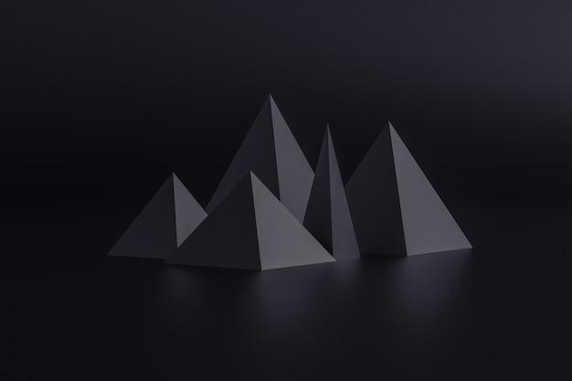 Piramidi nere isolate sul nero