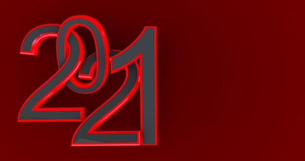 Nuovo anno 2021 nero e rosso isolato sul rosso