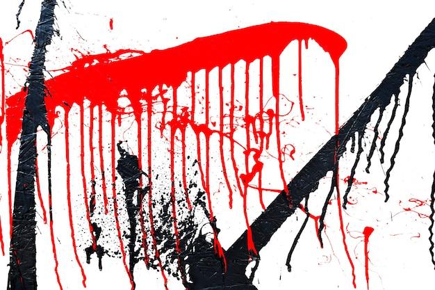 Vernice spray di colore nero e rosso o elemento di design graffiti su sfondo bianco