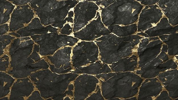 Roccia nera con sfondo texture linee dorate
