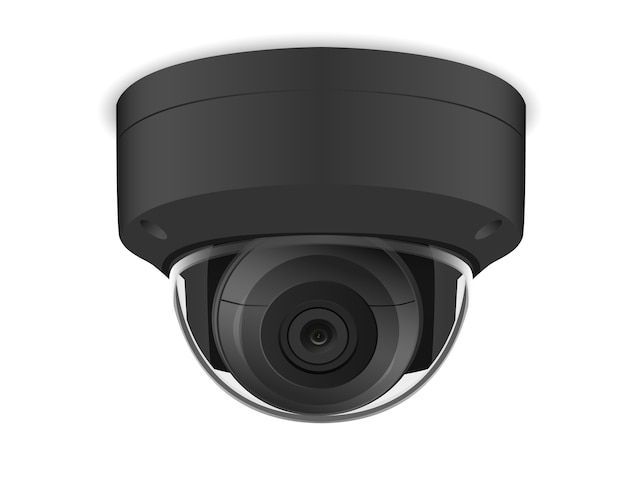 Telecamera cctv rotonda nera su sfondo bianco