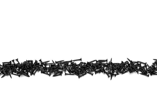 Vite autofilettante nera su sfondo bianco primo piano
