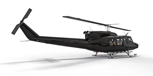 Elicottero da trasporto militare piccolo nero su sfondo bianco isolato. il servizio di soccorso in elicottero. taxi aereo. elicottero per polizia, vigili del fuoco, ambulanza e servizio di soccorso. illustrazione 3d.