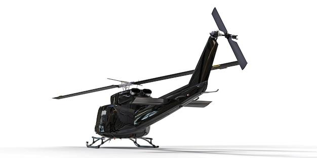 Piccolo elicottero da trasporto militare nero su sfondo bianco isolato