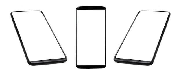 Smartphone neri con schermo vuoto isolato su sfondo bianco