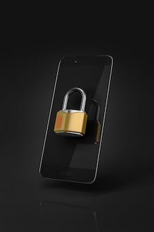 Smartphone nero bloccato con un lucchetto chiuso in metallo davanti allo schermo. sfondo nero. illustrazione 3d