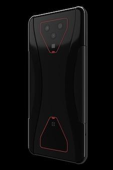 Smartphone nero con concetto di telecamere di gioco mobile o streaming
