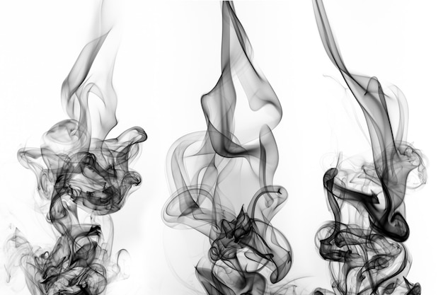 Estratto di fumo nero su sfondo bianco, design del fuoco