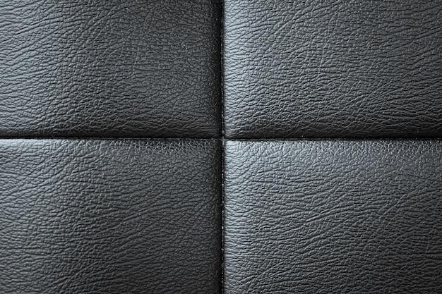 Fine di struttura in pelle divano nero su