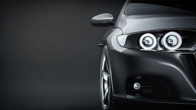 Automobile sportiva nera. rendering 3d. illustrazione.