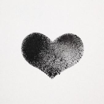 Cuore stencil nero su cartoncino grigio