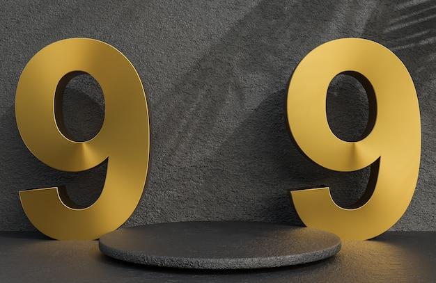 Podio in pietra nera e testo dorato 9.9 per la presentazione del prodotto sullo sfondo del muro di pietra in stile di lusso., modello 3d e illustrazione.