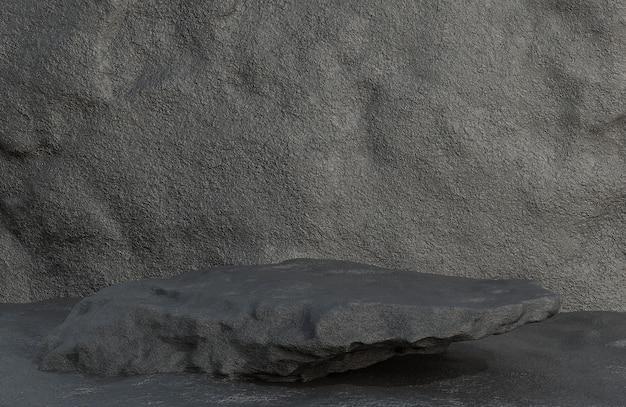 Podio in pietra nera per la presentazione del prodotto sullo stile di lusso del fondo della parete di pietra., modello 3d e illustrazione.