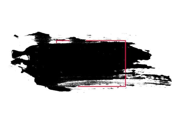 Tratti neri di vernice isolati su sfondo bianco. pennello da disegno