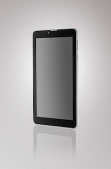 Nero un tablet con riflesso su uno sfondo scuro in primo piano
