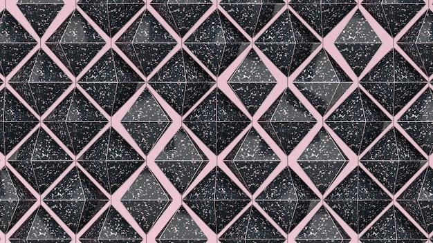 Piramidi testurizzate nere. illustrazione astratta, rendering 3d.
