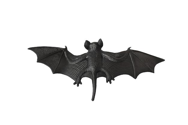 Pipistrello di gomma giocattolo nero, modello di halloween, isolato su sfondo bianco