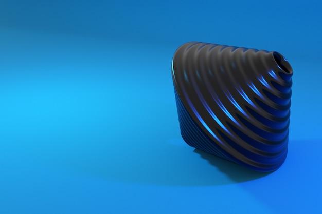 Trottola nera del giocattolo sull'azzurro