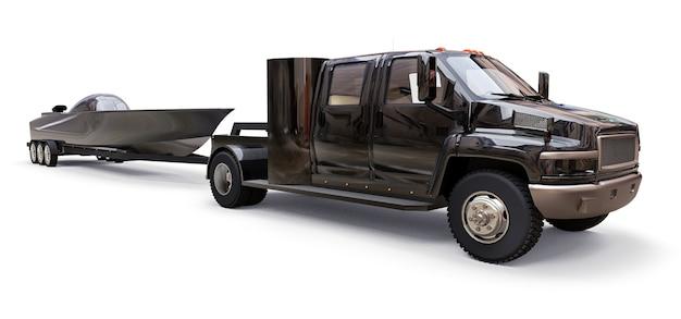 Camion nero con un rimorchio per il trasporto di una barca da corsa su uno sfondo bianco. rendering 3d.