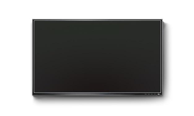 Schermo piatto tv nero, illustrazione realistica al plasma