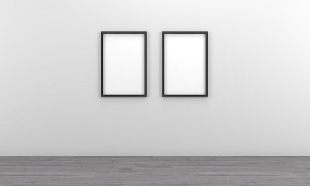 Mockup di due cornici vuote nere sulla parete grigia