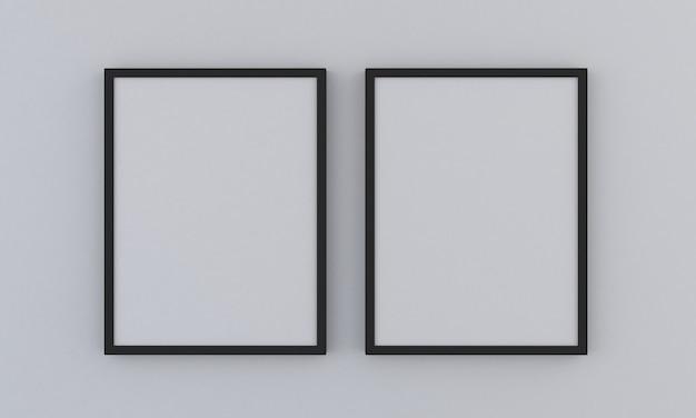 Mockup di due cornici verticali nere su sfondo grigio
